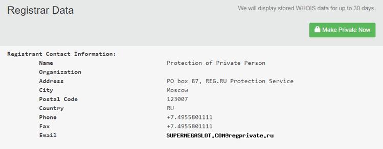 Supermegaslot.com Whois