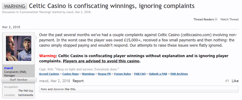 Casinomester Celtic Casino Warning