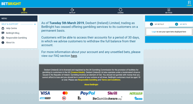 BetBright Closed as of 5th March 2019